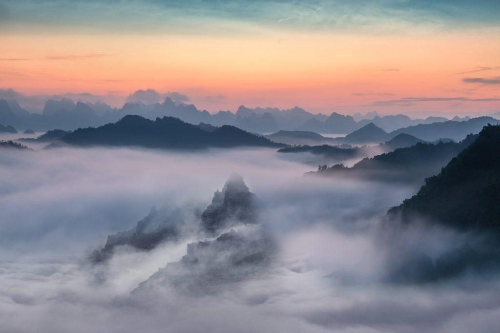 fog, sunset, sky
